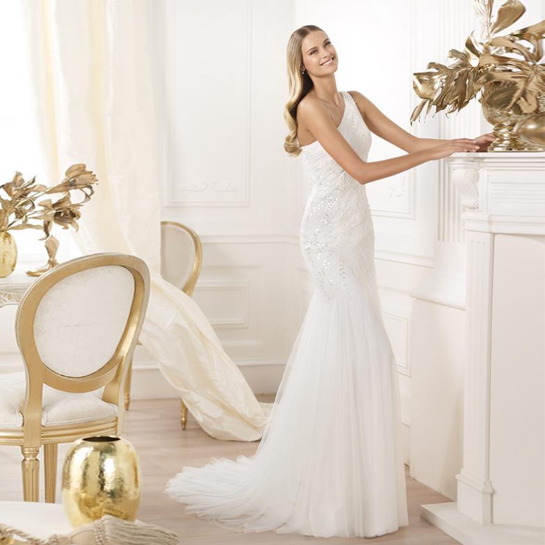 Free shipping custom made one shoulder slim wedding dress bridal wear lace plus size bridal gown princess wedding wear wholesale(China (Mainland))