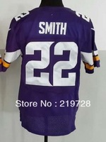 2013 Elite Minnesota Jersey 22 smith Jersey Team Color Home Purple Road White stitched Men's American Football Jerseys