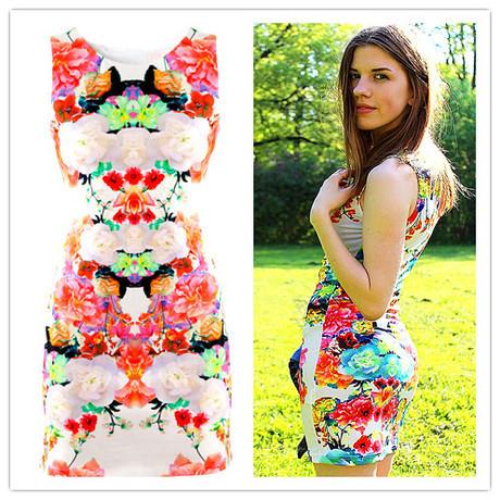 Free shipping 2014 new Spring Summer retro elegant fashion O-neck Sleeveless Bodycon Print Tank women mini Dress A33(China (Mainland))