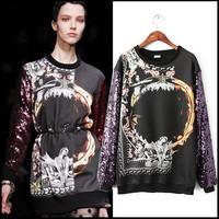 2014 Spring New Sequins Sleeve Printed Hoodies Sweatshirt Pullover