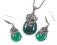 100% Guaranteed Genuine Thai 925 Sterling Silver Jewelry Sets With Green Agate Thai Jewelry YH44779