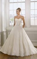 New Style ! A-line Strapless Sweetheart Designer Wedding Gown ,Wedding Wear 2014 with full Lace Appliques and Sash