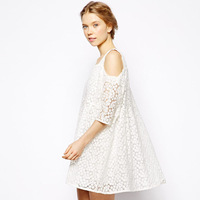 vintage half sleeve lace spaghetti strap double layer white floral women's summer party one-piece dress
