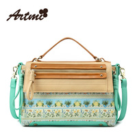 Artmi 2014 new print sweet vintage totes women's handbag contrary color print cross-body messager shoulder bag free shipping
