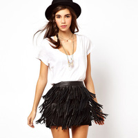 Pu tassel above knee women's leather mini skirts new in 2014