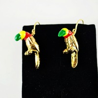 6pcs/lot  fashion accessories beautiful multi-colored oil parrot earrings