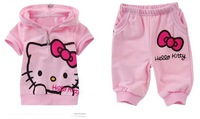 free shipping new New arrival fashion cute hello kitty children clothing short sleeve T-shirt +pants children kids suit