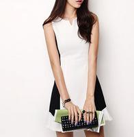 """LASION""2014 new Korean wild black and white color Slim Dress # 4120"