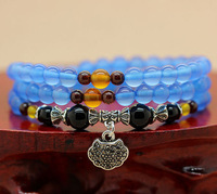 High quality,beautiful multilayer blue agate ball bead women bracelet,fashion natural crystal female jewelry,free shipping