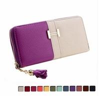 New 2014 Women Wallets Candy Color Long Zipper Design Travel Wallets Brand Genuine Leather Wallet Change Purse Women Clutch A020