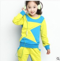 4-5-6-8-9-10-12-14 sale new 2014 children's big girl clothing set kids top+pants 2 pieces set female child twinset sportswear