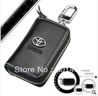 Black Leather Car Key Holder Case Bag Alloy Keychain