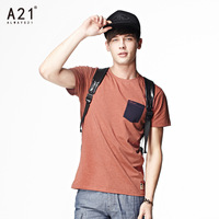 A21 2014 summer men's clothing o-neck short-sleeve slim T-shirt male fashionable casual male t