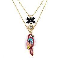 3pcs/lot Fashion accessories enamel parrot bird necklace