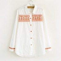 Small fresh color block national trend cross embroidery white women's shirt plus size shirt