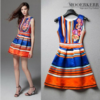 European HOT ! 2014 women's new spring/summer fashion stripe color block print sheds one-piece dress,Plus Size XL