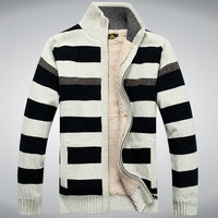 AFSJEEP Fashion leisure Stripe cardigan Free shipping autumn men's sweater color patchwork cashmere wool sweater cardigans