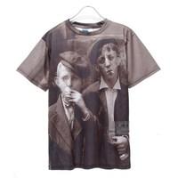 2013 Mr GUGU Miss GO  retro smoking boy photos brand men's shirt fashion designer t-shirt Digital printing cotton casual  tag