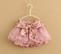 wholesale best selling summer girl clothes bottoms children Girl's floral hot Shorts tutu big bow-knot  Bloomers