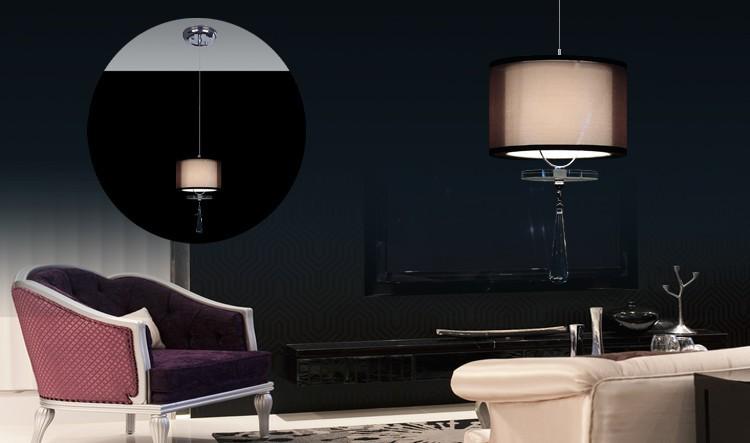 Free shipping HOT modern fashion art deco AC85V~265V E27 Lantern pendant lights Crystal Pendants Lamps Double Cloth Lampshade(China (Mainland))