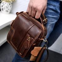Men shoulder bag genuine leather small bag cross-body portable multifunctional male women's handbag waist pack free shipping