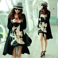 Free Shipping Winter Micro Modal irregular fat tide T-shirt Korean women loose gown