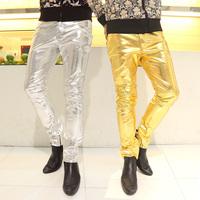 Ds costume fashion star fashion male PU pants sexy slim gold leather pants male