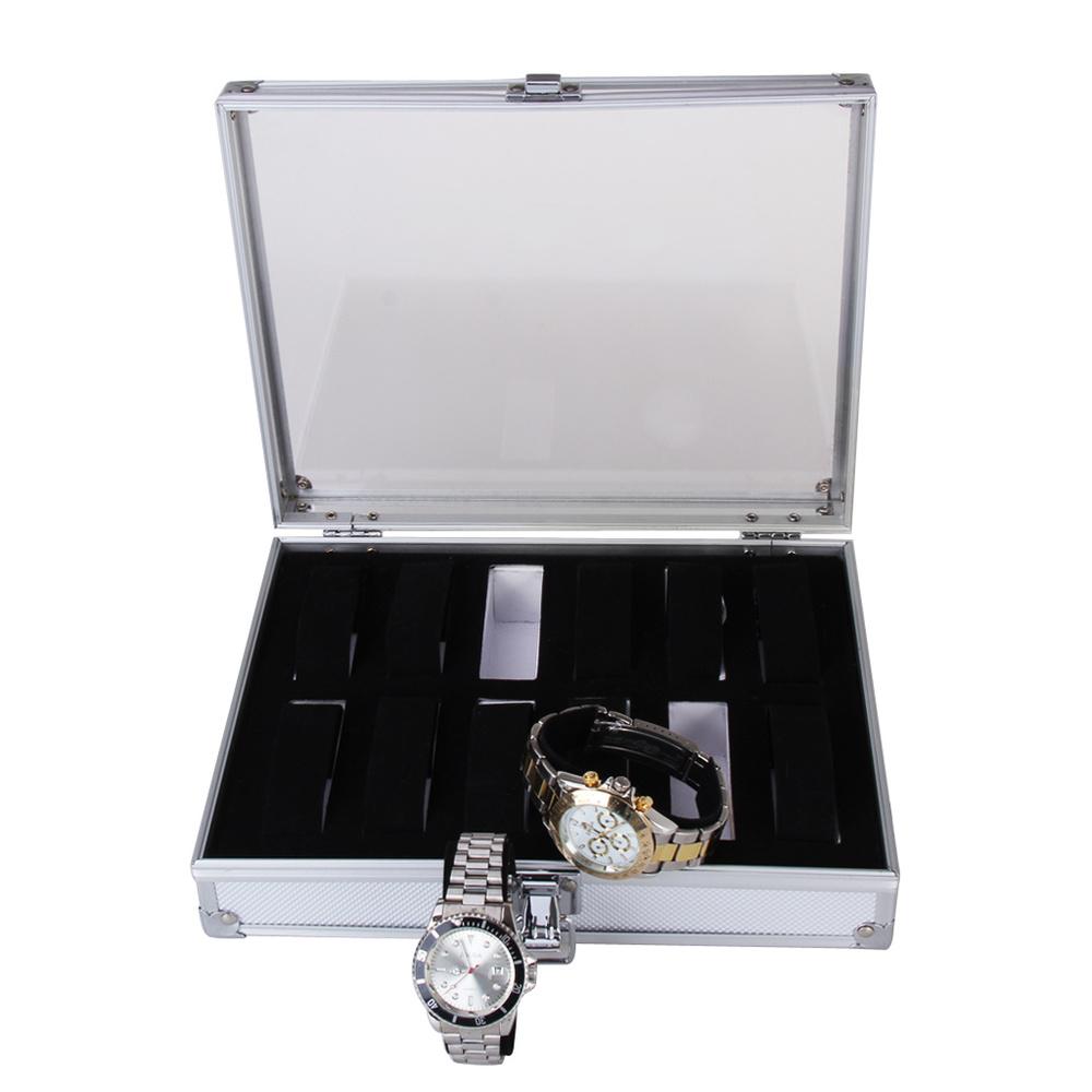 New Brand Fashion High Quality Aluminium + Plastic 12 Grid Slots Jewelry Watch Display Storage Square Box Case Free Shipping(China (Mainland))