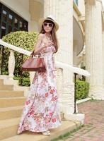 Bohemia beach dress ultra long dress fancy halter-neck ultra long vintage one-piece dress