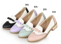 2013 New Color Block Decoration Shallow Mouth Bow Loafers Sweet Round Toe Slip-on Women Flats Vintage Oxford Shoes for Women