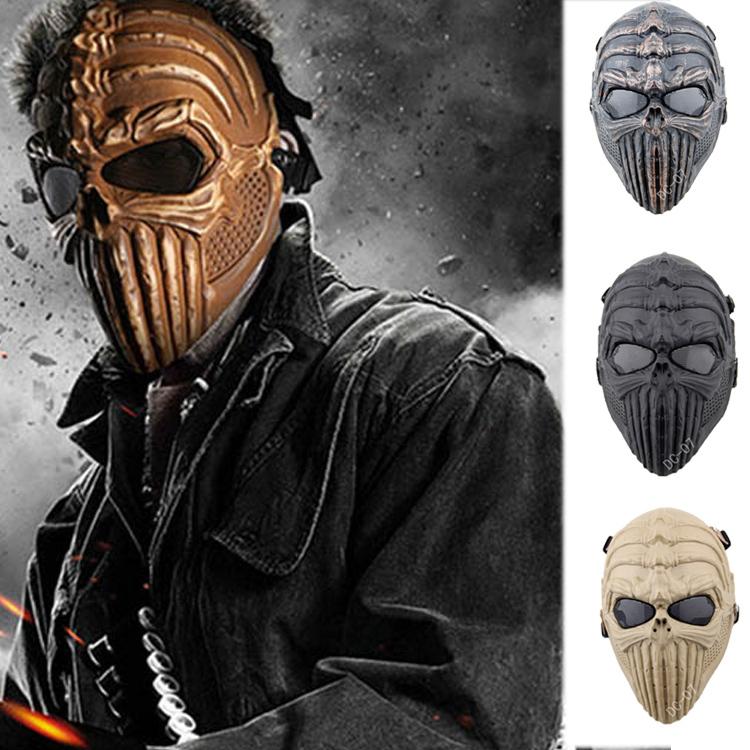 Tingler dc-07 colonne vertébrale squelette du crâne full face airsoft paintball masque pour halloween party cs wargame jeu terrain cosplay film. prop