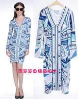 Luxury Brand New IN Auturm High Fashion Ladies' Long sleeves V Neck Geometric Print Sheath Jersey Silk Dress S-XXL