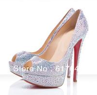 New Fashion Women High Platform Peep Toe Crystal Wedding High Heels Red Bottom Rhinestone Pumps
