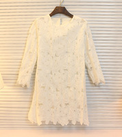 Free Shipping! 2014 charm flower cutout summer short-sleeve slim breathable lace one-piece dress