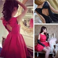 2014 New! Women's 2014 spring back bow large racerback sleeveless one-piece dress princess dress female