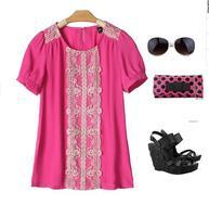 2014 summer new women's round neck lace stitching loose chiffon shirt-sleeved chiffon blouse M65021
