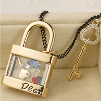 Beautiful Fashion Constume Jewelry Floating Locket Key and Lock Pendant Necklace Charm Key and Lock for Lovers 6pcs/lot