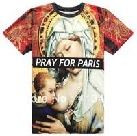 2013 versa Hip-hop brand men's round neck medusa Pharaoh  PRAY FOR PARIS fashion t-shirt tee cotton clothes tees tag label