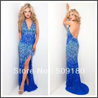 elegant high quality halter neck high side slit crystal bead backless customized party dress JO016 royal blue evening dress