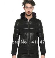 GIVE men's leather Suede stitching sleeve brand  PULLOVER medusa Outerwear jacket  fleece hoodies hoody jacket Sweatshirts