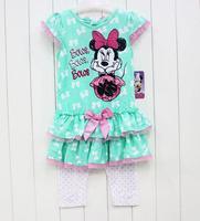 Girls Minnie Mouse Autumn -Summer Clothing Set Kids Dress & Legging New 2014 Wholesale Children Casual Clothes 9-9364