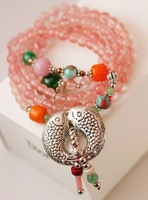 2014 FREE SHIPPING FASHION WOMEN JEWELRY,fine natural pink quartz multilayer  silver plated kiss fish bracelet(MIN.ORDER$15)