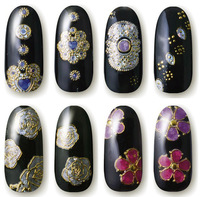 10PCS High Quality 3D Flowers Design Adhesive Nail Art Stickers Decals For Nail Tips Decoration Tools New 2014
