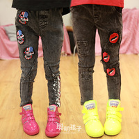 Children's clothing female child 2014 spring fashion normic skinny pants trousers elastic jeans 0016