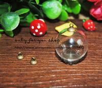 FREESHIPPING!!  20set/lot 25mm Ball 15mm open Glass Vial Glass Bulb & Antique bronze base & connector cap DIY Jewelry Pendant