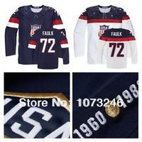 Cheap Custom Justin Faulk USA Jersey #72 Team American Hockey Jerseys Personalized Make Customized Sochi Olympic 2014 Blue White