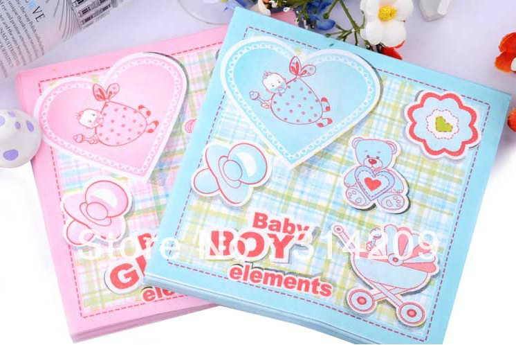 Free shipping, Baby Elements Series Folded Personalized Luncheon Napkins, Disposable Party Tissue Paper Toilet Nakpin , 33x33cm,(China (Mainland))