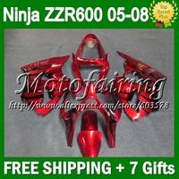 7gifts For KAWASAKI ZZR600 NINJA 05 06 07 08  black flames CL13108   ZZR-600 ZZR 600 636 2005 2006 2007 2008 black red Fairings
