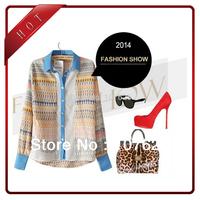 fashion women's spring shirt long sleeve chiffon tops geometric printed blouses S M L with free shipping