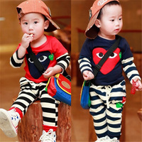 Free Shipping-2014 New Style Children's Set Boys Fashion Striped Suit 100% Cotton&high Quality